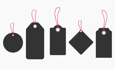 Blank tags or sale shopping labels set with rope isolated on white.