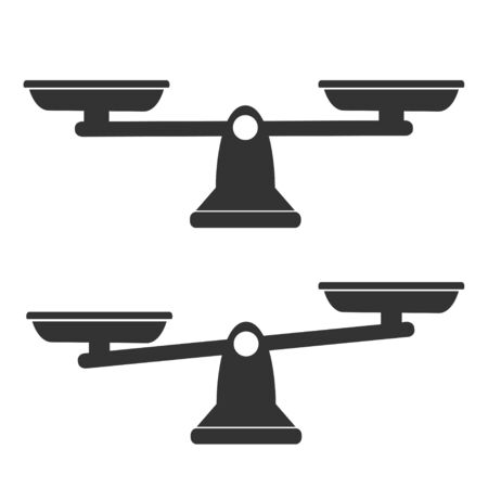 Bowls of scales in balance, an imbalance of scales. Black icons set. Libra, vector