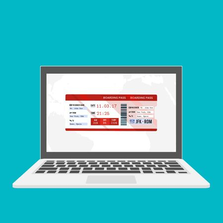 Laptop with electronic boarding pass airline ticket icon isolated on blue background. Passenger plane mobile ticket for web and app. Ilustração