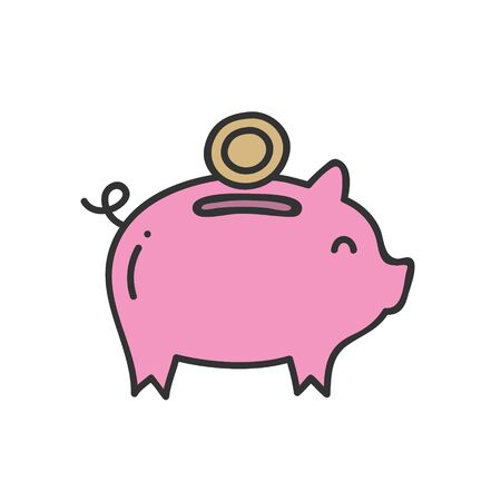 Pink piggy bank savings and investment planning concept. Vector illustration