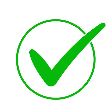 Green check mark icon in a circle. Tick symbol in green color, vector illustration. Ilustração
