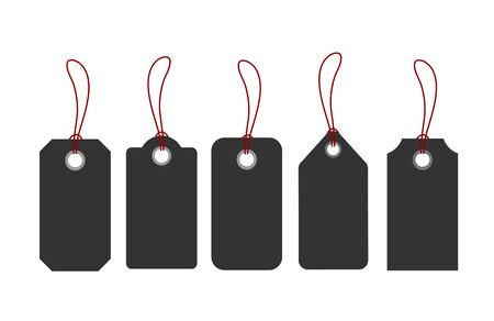 Blank tags or sale shopping labels set with rope. Vector illustration Ilustração