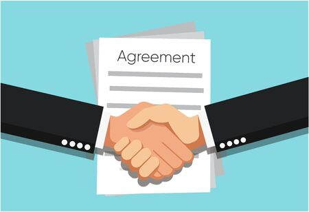 Handshake of business partners infant of Agreement document on the table. Vector flat style illustration Ilustração