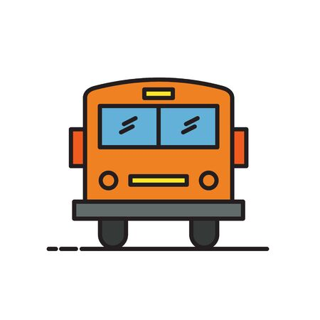 School bus thin line icon isolated on white. Vector Illustration Ilustração