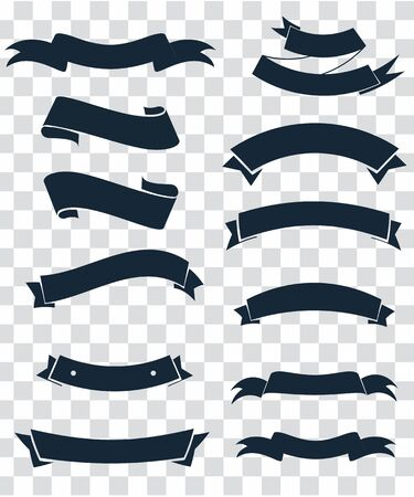Starburst labels set. Ribbon elements. Vintage. Modern black colored simple ribbons collection. Vector illustration. Ilustração