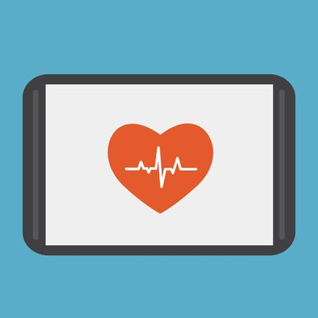 Heartbeat line on the tablet. Cardiogram. Electrocardiogram. Heart pulse monitor with signal. Vector illustration