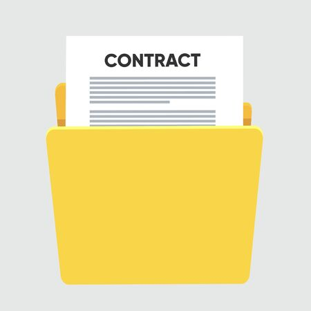 Contract conditions, research approval validation document. Contract papers. Document. Folder with stamp and text.