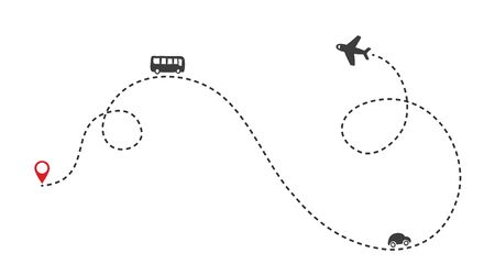 Multiple transportation ways on the route. Airplane flight path with dash line and dash line trace. Bus and car icons. Vector Illustration