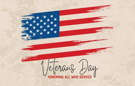 Veterans Day celebration poster with Typewritten text and US flag. Vector illustration