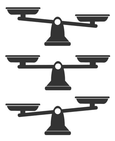 Bowls of scales in balance set, an imbalance of scales. Vector illustration. Line design.