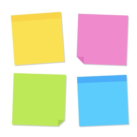 Blank post for message, to do list, memory. Sticky colored notes. Set different colored sheets of note paper. Post note paper with curled corners and shadows. Vector illustration Ilustração