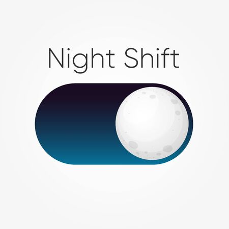 Modern design for blue symbol of Night Shift switch button with moon icon isolated on white. Vector illustration.  Ilustração