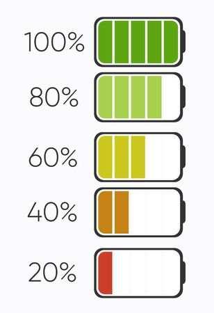 Percentage of charging or Charging level Battery. Batteries charging icon. Electricity symbol - energy sign. Power Battery illustration. Set of low and full status Ilustração
