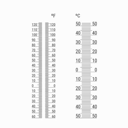 Thermometers measuring heat and cold temperature. Thermometers with Celsius and Fahrenheit scale in flat style. Vector