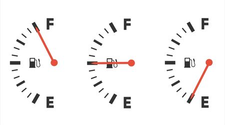 Fuel gauge icon. Gasoline indicator. Fuel indicator. Vector illustration
