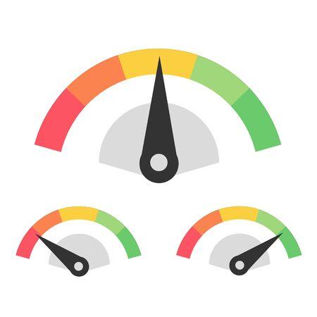 Customer Satisfaction Meter Speedometer Set. Vector Illustration EPS10
