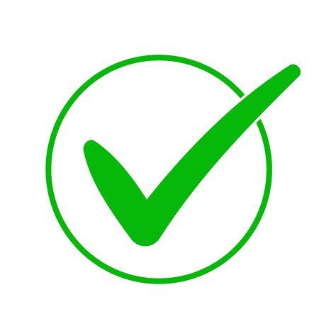 Green check mark icon in a circle. Tick symbol in green color, vector illustration. Ilustração