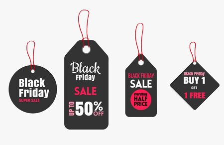 Paper Price Tag set for Black Friday. Vector illustration
