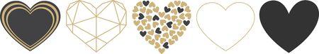 Heart and Love Icon Symbol set isolated on white background Ilustração