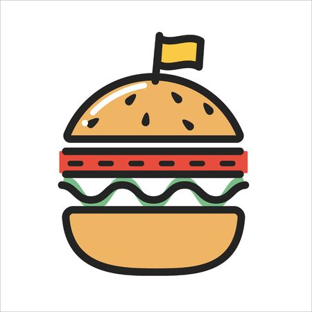 BURGER thin line icon isolated on white background. Fast food emblem. Vector Illustration