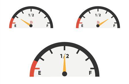 Fuel gauge icon. Gasoline indicators set. Fuel indicator. Vector illustration