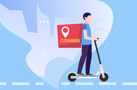 Product subscribe ordering and delivery by male on electric kick scooter service concept. Fridge with subscription online shopping goods app in supermarket. Man shipping food from grocery store