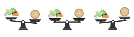 Money and Time balance an imbalance of scales. Clock and money symbols on scale. Set of Scales. Time is Money Business Concept. Ilustração