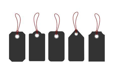 Blank tags or sale shopping labels set with rope. Vector illustration Ilustração
