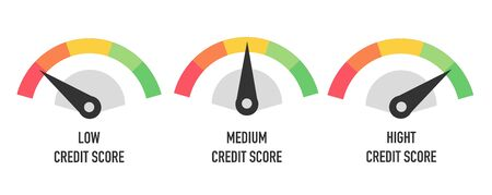 Credit score hight, medium and low concept isolated on white. Vector illustration Ilustração