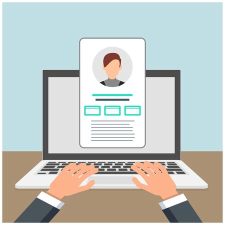 Login authentication concept on laptop screen. Notebook and online login form. User profile Ilustração