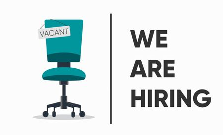 We are hiring, banner concept, vacant position. Business hiring and recruiting concept. Empty office chair with vacant sign isolated on white background