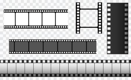 Cinema strip templates. Negative and strip, media filmstrip. Film roll vector, film 35mm, slide film frame set.
