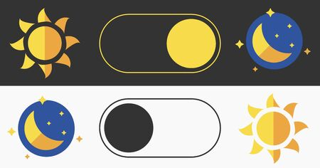 Sleeping mode turn on, off. On Off Switch. Light and Dark Buttons. Simple dark mode switch icon.