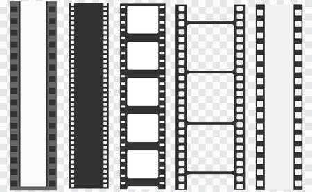Cinema strip templates. Negative and strip, media filmstrip. Film roll vector, film 35mm, slide film set frame