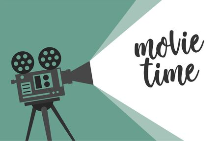 Movie time concept with retro camera isolated on green beams. Vector illustration