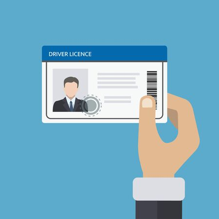 Hand holding id card, car driving license. Vector illustration