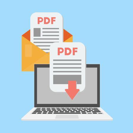 Pdf document download on the laptop concept. Receive pdf in the message. Vector illustration. Ilustração