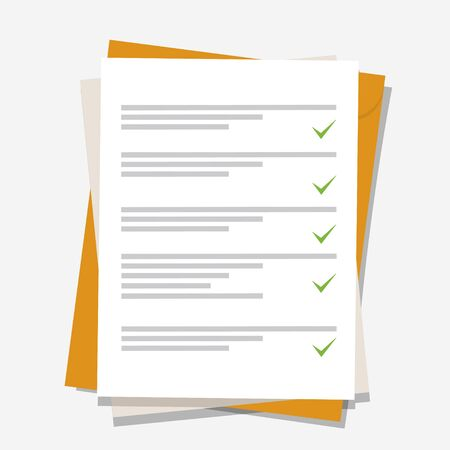 Documents icon. Stack of paper sheets. Confirmed or approved document. Flat illustration isolated on color background. Ilustração