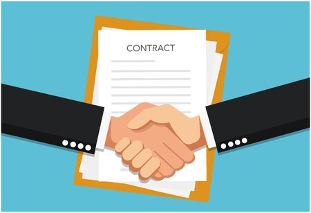 Vector illustration businessman handshake, contract signing. Background for business and finance. Signing document concept.