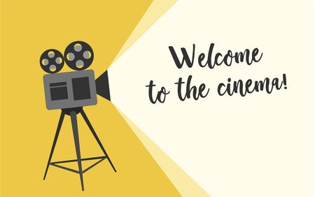 Welcome to the cinema poster. Cartoon vector illustration. Retro movie projector poster. Cartoon vector illustration. Cinema motion picture.