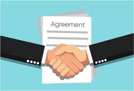 Handshake of business partners infant of Agreement document on the table. Vector flat style illustration Ilustração