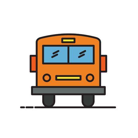 School bus thin line icon isolated on white. Vector Illustration Ilustração