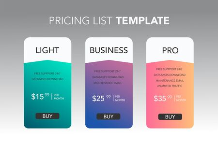 Subscription plans template with account information or list of included options and price. Flat vector illustration for website, application.