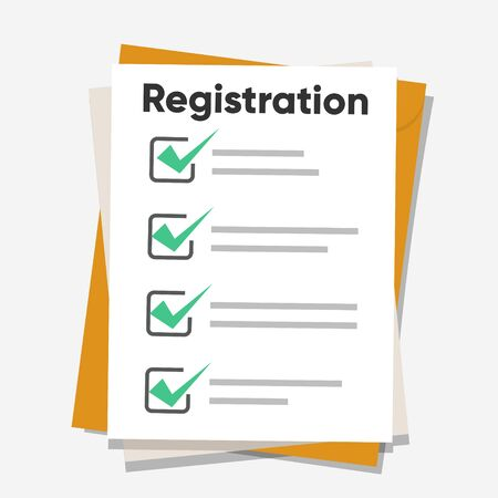 Registration list. Clipboard and check marks. Flat style design vector illustration