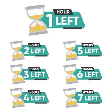 Countdown 1, 2, 3, 4, 5, 6, 7 hours left label or emblem set. Hours left counter icon with hour glass promotion, promo offer. Flat badge with number of count down time. Vector illustration Ilustração