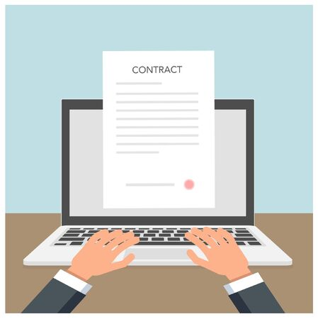 Signing a smart contract concept with a laptop and hands. Clip-art illustration Ilustração