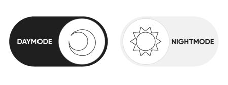 On Off modes Switch Element for Mobile App, Web Design, Animation. Light and Dark Buttons. Light and Dark Buttons. Clip-art illustration