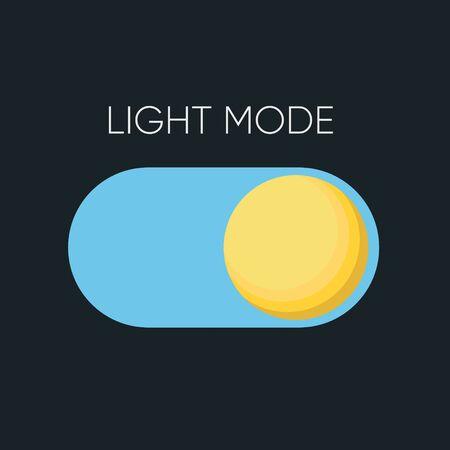 Light Mode Slide Button for mobile software concept. Clip-art Illustration