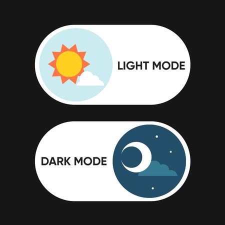 On Off Switch Element for Mobile App, Web Design, Animation. Light and Dark Buttons. Light and Dark Buttons. Clip-art illustration