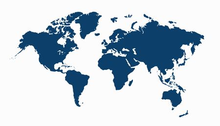 World map isolated on white. Blue map of the World. Vector